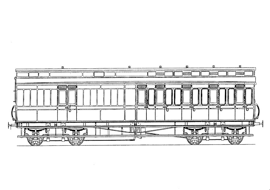 5303 GWR D14 50' Clerestory Coach Brake Third
